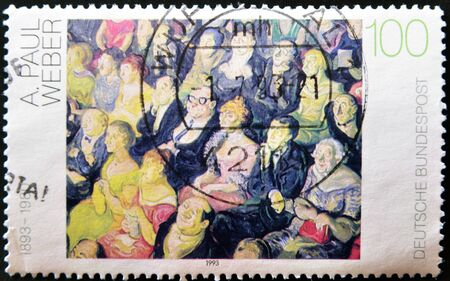 weber: GERMANY - CIRCA 1993: A stamp printed in Germany shows a painting by Paul Weber, circa 1993