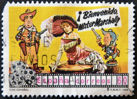 mr: SPAIN - CIRCA 1998: A stamp printed in Spain shows movie poster welcome Mr. Marshall of Luis Garcia Berlanga, circa 1998