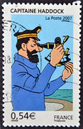 circa: FRANCE - CIRCA 2007: A stamp printed in France shows the cartoon character, captain haddock, circa 2007