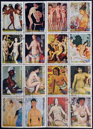 EQUATORIAL GUINEA - CIRCA 1974: A stamp printed in Equatorial Guinea shows the female nude in art history, circa 1974 Stock Photo - 11804103