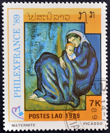 LAOS-CIRCA 1989: A stamp printed in the Laos shows painting