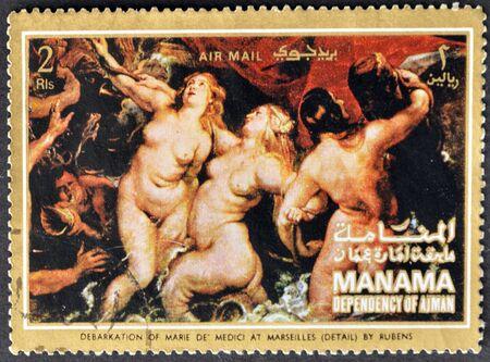 ajman: MANAMA (AJMAN)- CIRCA 1972: A stamp printed in the Manama shows painting Debarkation of Marie de Medici at Merseilles by Peter Paul Rubens, detail, circa 1972