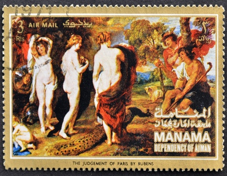 MANAMA (AJMAN)- CIRCA 1972: A stamp printed in the Manama shows painting The judgement of Paris by Peter Paul Rubens, detail, circa 1972