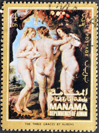 ajman: MANAMA (AJMAN)- CIRCA 1972: A stamp printed in the Manama shows painting The three graces by Peter Paul Rubens, detail, circa 1972