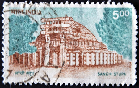sanchi: INDIA - CIRCA 1923: A stamp printed in India shows image of Sanchi Stupa, the famous Buddhist monuments,  circa 1923
