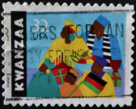 UNITED STATES OF AMERICA - CIRCA 1997: A stamp printed in USA dedicated to kwanzaa, circa 1997 Stock Photo - 11804105