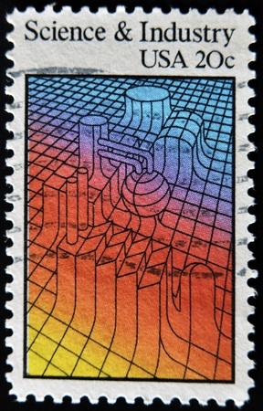 salience: UNITED STATES - CIRCA 1983: A stamp printed in USA dedicated to science and industry, shows machinery, circa 1983