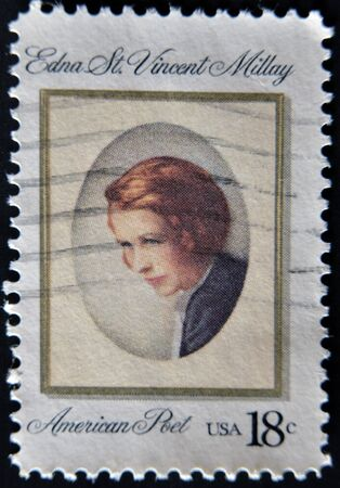 lyrical: USA - CIRCA 1981: A stamp printed in USA shows a picture of Edna St. Vincent Millay, a famous American Poet, circa 1981