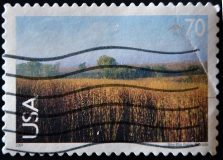 UNITED STATES OF AMERICA - CIRCA 2001: A stamp printed in UASA shows Nine-Mile Prairie, Nebraska, circa 2001 photo