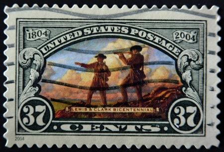 indian postal stamp: UNITED STATES OF AMERICA - CIRCA 2004: A stamp printed in the USA shows Lewis and Clark Expedition, Circa 2004