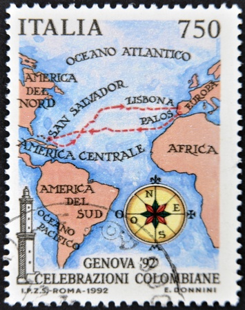 sender: ITALY - CIRCA 1992: A stamp printed in Genoa dedicated to Columbus Celebrations shows  map of the voyage of Columbus  Circa 1992  Stock Photo
