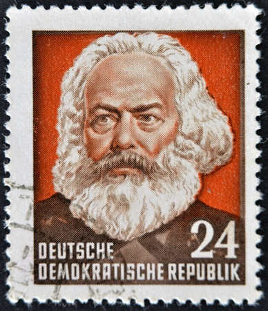 marx: GERMANY - CIRCA 1970: A stamp printed in Germany shows Karl Marx, circa 1970  Editorial