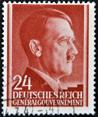 adolf: GERMANY - CIRCA 1943: A stamp printed by Third Reich shows Portrait of Adolf Hitler, circa 1943.