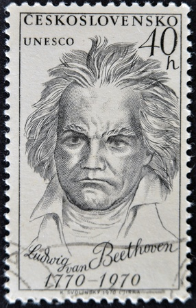 CZECHOSLOVAKIA - CIRCA 1970: a stamp printed in Czechoslovakia shows Ludwig Van Beethoven, the famous German composer, circa 1970
