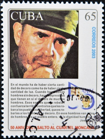 castro: CUBA - CIRCA 2003: A stamp printed in Cuba shows Fidel Castro, circa 2003