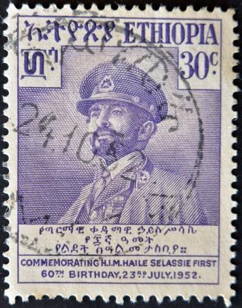 ETHIOPIA - CIRCA 1952: A stamp printed in Ethiopia showing emperor Haile Selassie, circa 1952 Editorial
