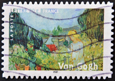 FRANCE - CIRCA 2006: A stamp printed in France shows the painting Mademoiselle Gachet in her garden by Vincent Van Gogh, circa 2006