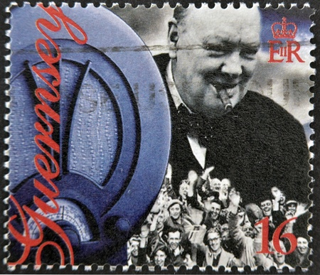 winston: GUERNSEY - CIRCA 1995 : stamp printed in Guernsey showing Winston Churchill, circa 1995