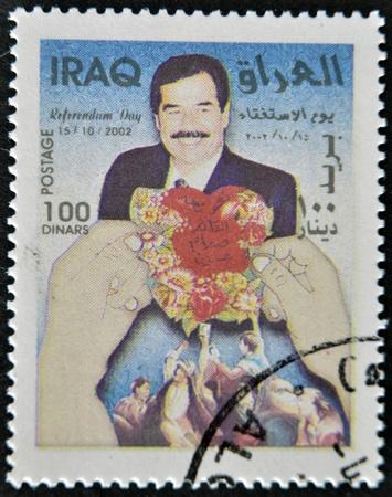 IRAQ - CIRCA 2002: A stamp printed in Iraq shows Saddam Hussein, circa 2002