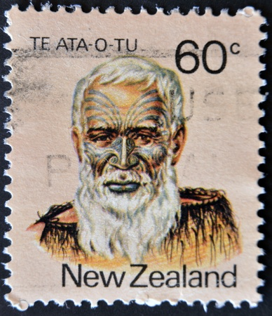 NEW ZEALAND - CIRCA 1988: A stamp printed in New Zealand shows image of Te Ata O Tu, the Maori leader, circa 1988