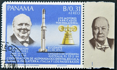 PANAMA - CIRCA 1966: stamp printed by Panama, shows Sir Winston Churchill and rocket Europa1, circa 1966  Stock Photo - 11805119