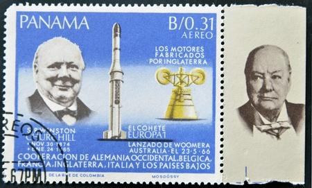 PANAMA - CIRCA 1966: stamp printed by Panama, shows Sir Winston Churchill and rocket Europa1, circa 1966  Stock Photo - 11805119