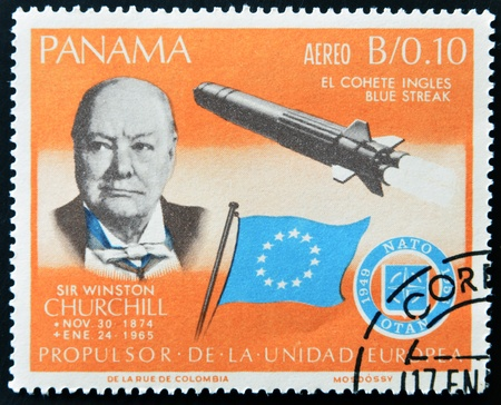 PANAMA - CIRCA 1966: A stamp printed by Panama, shows Sir Winston Churchill and rocket Blue streak, circa 1966