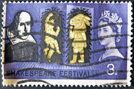 UNITED KINGDOM - CIRCA 1964: A stamp printed in England, is dedicated to the 400th anniversary of William Shakespeare, circa 1964