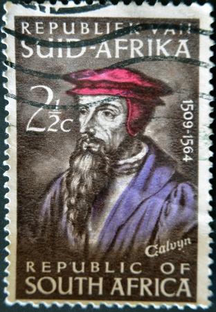 rsa: REPUBLIC OF SOUTH AFRICA - CIRCA 1964: A stamp printed in RSA shows John Calvin, circa 1964.