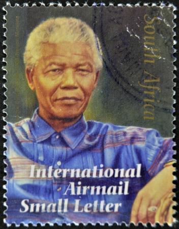 mandela: REPUBLIC OF SOUTH AFRICA - CIRCA 2008: A stamp printed in RSA shows Nelson Mandela, circa 2008