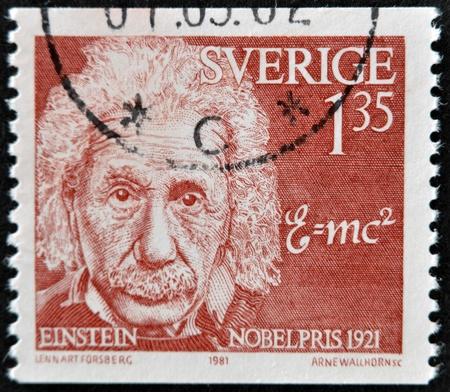SWEDEN - CIRCA 1981: A stamp printed in Sweden shows Albert Einstein, circa 1981.  Stock Photo - 11805087