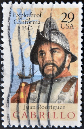 UNITED STATES OF AMERICA - CIRCA 1992: A stamp printed in USA shows Juan Rodr�guez Cabrillo, explorer of California, 1542, circa 1992