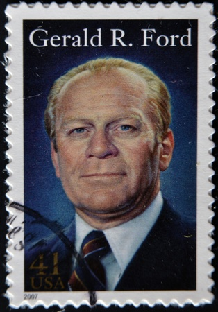 UNITED STATES OF AMERICA - CIRCA 2007: A stamp printed in USA shows President Gerald R Ford, circa 2007  Stock Photo - 11805071