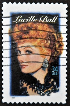 UNITED STATES - CIRCA 2001: A stamp printed in USA shows Lucille Ball, circa 2001