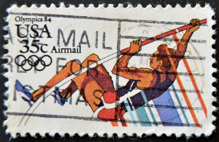 USA - CIRCA 1984: A stamp printed in USA from the Los Angeles Olympics 1984 issue, showing Pole Vault, circa 1984.
