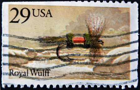 mediaval: USA - CIRCA 1980: A stamp printed in USA shows image of the dedicated to the Fishing Royal Wulff circa 1980.