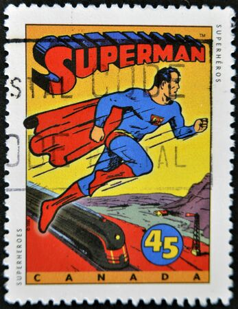 canada stamp: CANADA - CIRCA 1995: A stamp printed in Canada shows Comic Book Characters, Superman, circa 1995