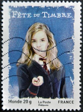 alfarero: FRANCIA - CIRCA 2007: Un sello impreso en Francia muestra a Hermione Granger, alrededor de 2007