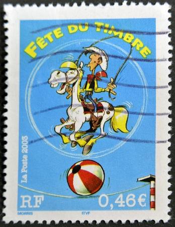 FRANCE - CIRCA 2003: A stamp printed in France shows cartoon lucky luke, circa 2003