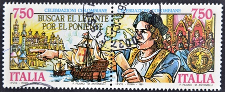 ITALY - CIRCA 1991: stamp printed in Italy show of the discovery of America of Christopher Columbus, circa 1991  Stock Photo - 11805364