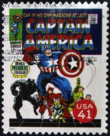 UNITED STATES - CIRCA 2007: stamp printed in USA shows Captain America, circa 2007  Stock Photo - 11805376