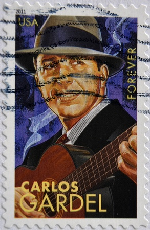 UNITED STATES OF AMERICA - CIRCA 2011: A stamp printed in USA shows Carlos Gardel, circa 2011
