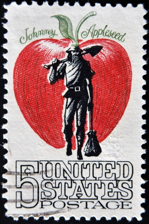 johny: USA - CIRCA 1950: A stamp printed in USA shows image of the dedicated to the Johnny Appleseed circa 1950.  Stock Photo