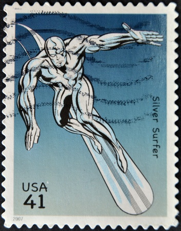 silver surfer: UNITED STATES - CIRCA 2007: stamp printed in USA shows Silver Surfer, circa 2007