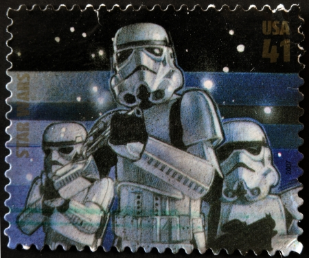 stormtrooper: UNITED STATES - CIRCA 2007: stamp printed in USA shows Star Wars, Stormtrooper, circa 2007