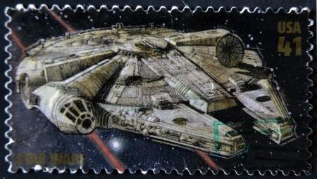 singular: UNITED STATES - CIRCA 2007: stamp printed in USA shows Star Wars, Millennium Falcon, circa 2007  Editorial