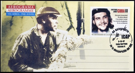 CUBA - CIRCA 2007: Stamp printed in Cuba, anniversary of the death of legendary Che Guevara in Bolivia, Circa 2007