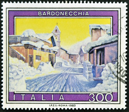 ITALY - CIRCA 1983: A stamp printed in Italy shows Bardonecchia, circa 1983 Stock Photo - 11813781