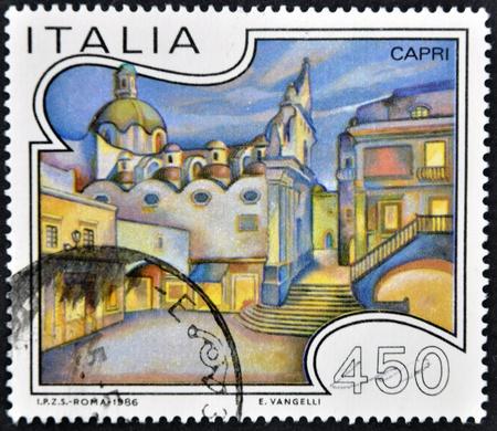 ITALY - CIRCA 1986: A stamp printed in Italy shows Capri, circa 1985 Stock Photo - 11813782