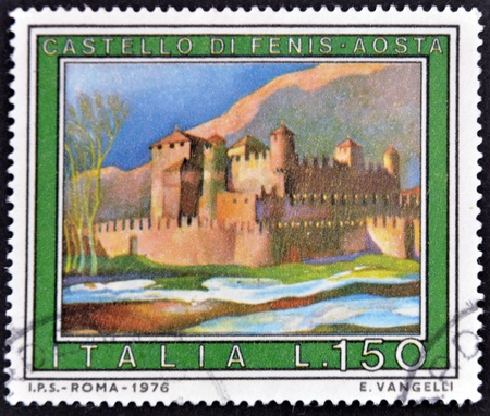 ITALY - CIRCA 1976: A stamp printed in Italy shows F�nis Castle, Aosta, circa 1976 Stock Photo - 11813776